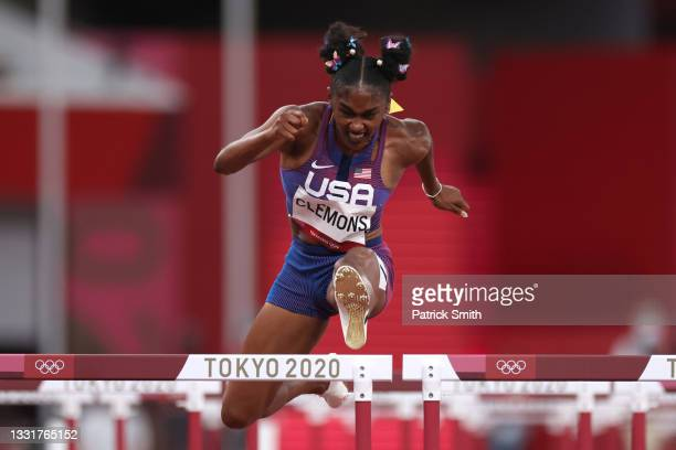 Christina Clemons of Team United States competes in the Women's 100m Hurdles Semi-Final on day nine of the Tokyo 2020 Olympic Games at Olympic...