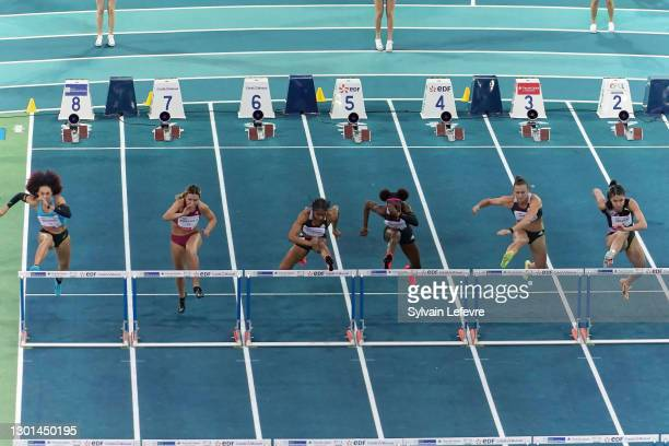 Christina Clemons of the United States competes in the women's 60m hurdles final during the World Athletics Indoor Tour at Arena Stade Couvert on...