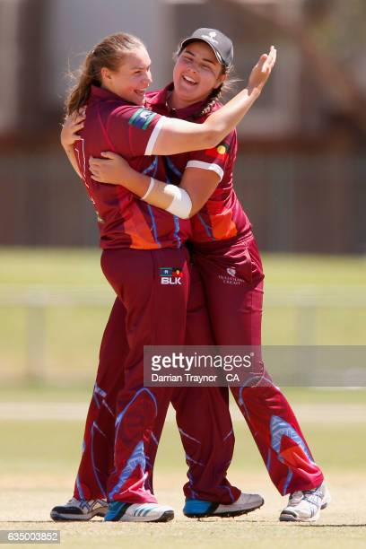 Christina Coulson and Tamika Hansen of Queensland celebrates a wicket during the National Indigenous Cricket Championships Final between New South...