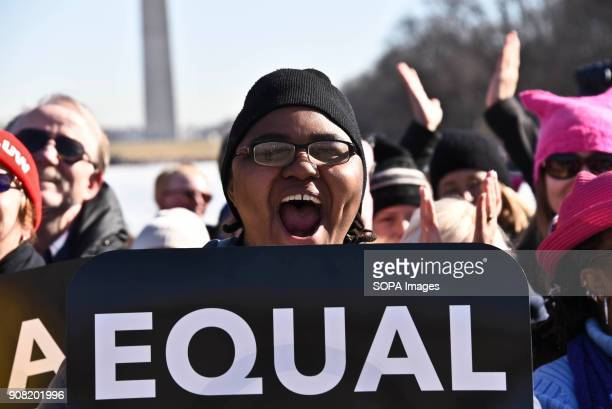 Christina Dawson of Virginia joined thousands to support the first anniversary of the Women's March Thousands marched and rallied in Washington DC to...