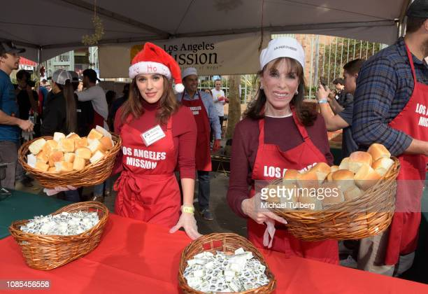 Christina DeRosa and Kate Linder serve up food at the annual Los Angeles Mission Christmas at Los Angeles Mission on December 21 2018 in Los Angeles...