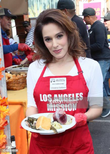 Christina DeRosa attends the Los Angeles Mission Thanksgiving event for the homeless at the Los Angeles Mission on November 21 2018 in Los Angeles...