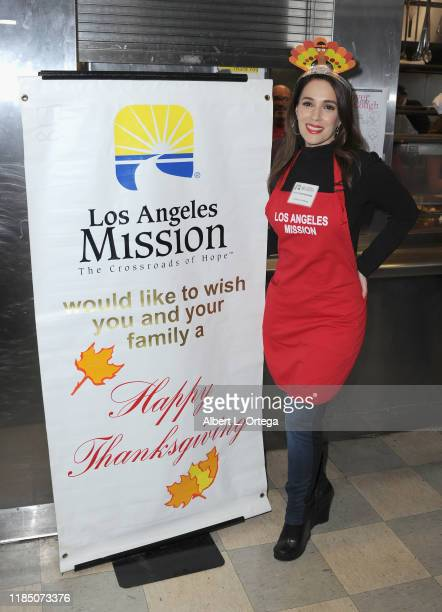 Christina DeRosa attends the Los Angeles Mission Thanksgiving For The Homeless held at Los Angeles Mission on November 27, 2019 in Los Angeles,...