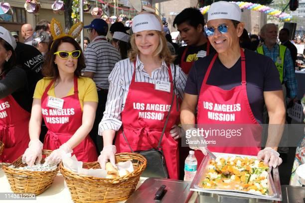 Christina DeRosa, Deidre Hall and former Los Angeles Mayor Antonio Villaraigosa volunteer as The Los Angeles Mission hosts Easter for the homeless on...