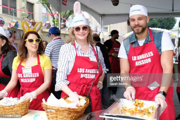 Christina DeRosa, Deidre Hall and Ian Verdun volunteer as The Los Angeles Mission hosts Easter for the homeless on April 19, 2019 in Los Angeles,...