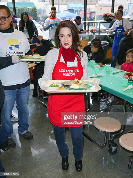 Christina DeRosa is seen at LA Mission Christmas Dinner for the Homeless on December 23, 2016 in Los Angeles, California.