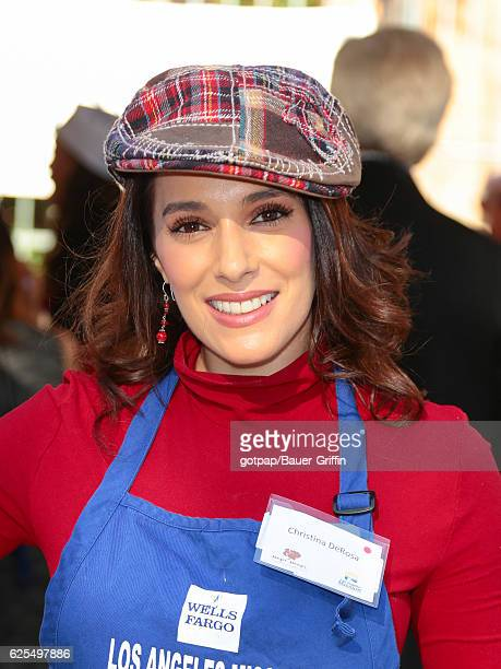 Christina DeRosa is seen at LA Mission Thanksgiving Dinner for the homeless on November 23, 2016 in Los Angeles, California.