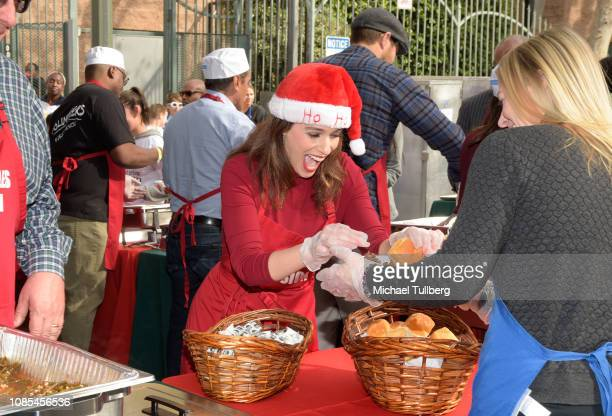 Christina DeRosa serves up food at the annual Los Angeles Mission Christmas at Los Angeles Mission on December 21 2018 in Los Angeles California