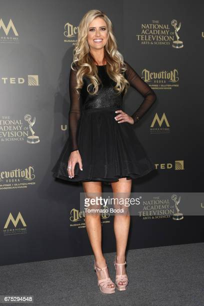 Christina El Moussa poses in the Press Room during the 44th Annual Daytime Emmy Awards at Pasadena Civic Auditorium on April 30, 2017 in Pasadena,...