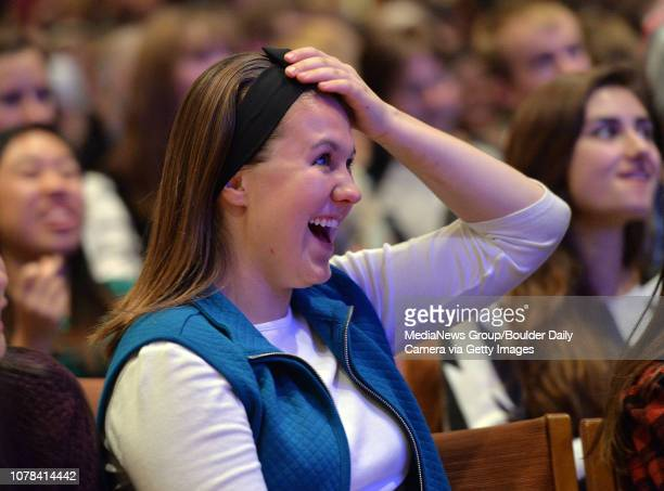 Christina Enloe reacts to a comment by Donald Trump while during the GOP presidential debate watch party in the Glen Miller Ballroom at CU David R...