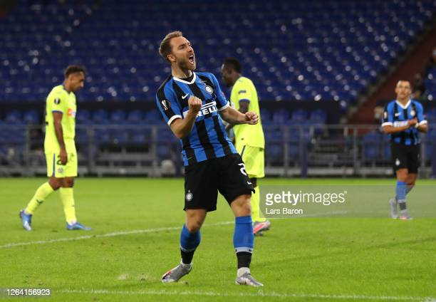 Christina Eriksen celebrates after scoring his sides second goal during the UEFA Europa League round of 16 singleleg match between FC Internazionale...