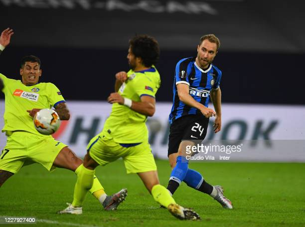 Christina Eriksen of FC Internazionale scores the second goal during the UEFA Europa League round of 16 singleleg match between FC Internazionale and...