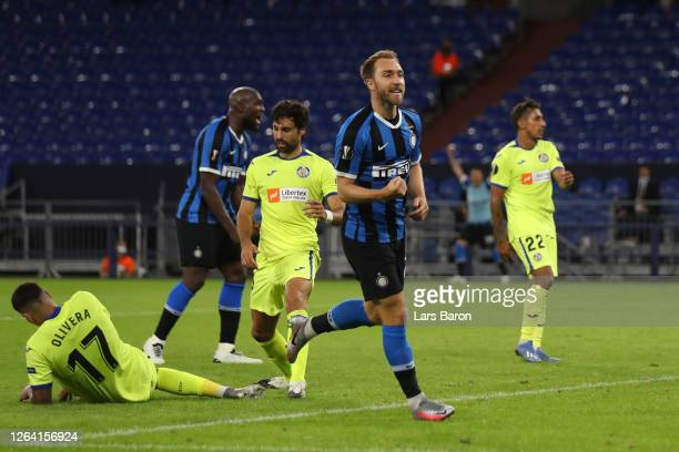 Christina Eriksen of Inter Milan celebrates after scoring his sides second goal during the UEFA Europa League round of 16 singleleg match between FC...
