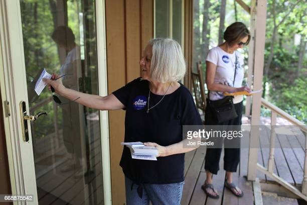 Christina Ferguson and Anna Cay Robertson canvass a neighborhood for Democratic candidate Jon Ossoff as he runs for Georgia's 6th Congressional...
