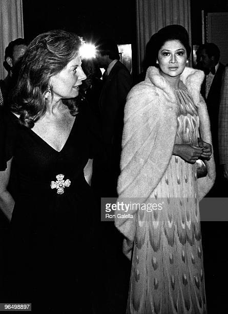 """Christina Ford and politician Imelda Marcos attend Metropolitan Museum of Art Costume Institute Exhbition of """"The Glory of Russian Costume"""" on..."""
