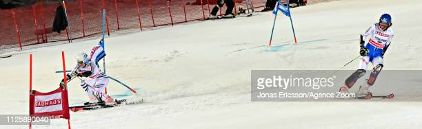 Christina Geiger of Germany in action, Petra Vlhova of Slovakia crashes out during the Audi FIS Alpine Ski World Cup Men's and Women's City Event on...
