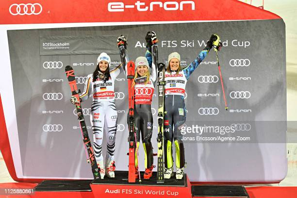 Christina Geiger of Germany takes 2nd place Mikaela Shiffrin of USA takes 1st place Anna Swenn Larsson of Sweden takes 3rd place during the Audi FIS...