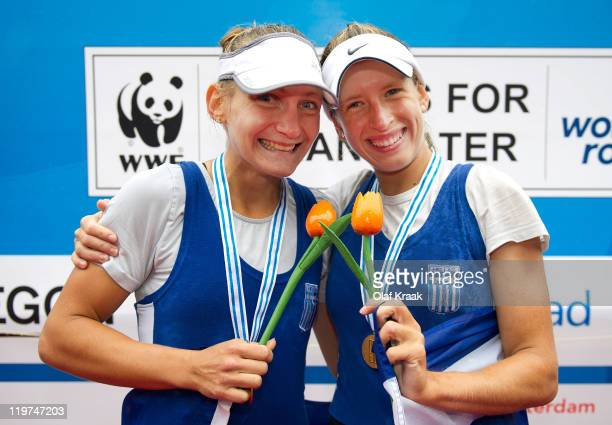 Christina Giazitzidou and Triantafylia Kalampoka of Greece celebrate after winning the Lightweight Women's Double Sculls during Day Five of the FISA...