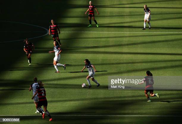 Christina Gibbons of the Victory controls the ball during the round 12 WLeague match between the Western Sydney Wanderers and the Melbourne Victory...