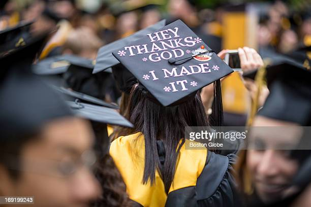 Christina Gibbs a Food and Nutrition major wore a decorated cap at Framingham State University's commencement ceremony on May 19 2013
