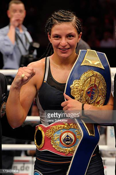 Christina Hammer from Germany celebrates after the WBO WBF Middleweight World Championship fight between Christina Hammer and Mikaela Lauren at...