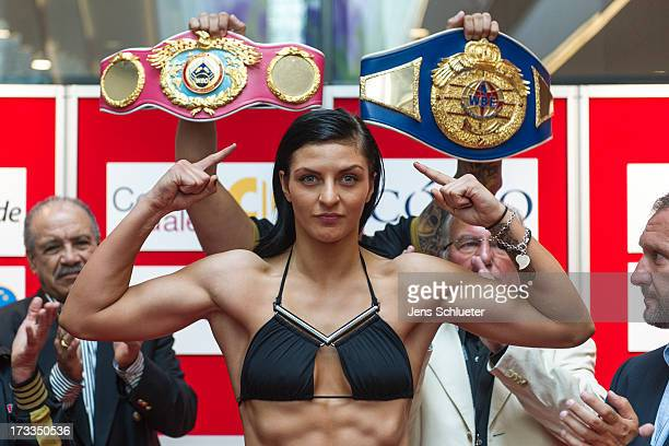 Christina Hammer from Germany poses during the weighin for the WBO WBF Middleweight World Championship on July 12 2013 in Dresden Germany The WBO WBF...
