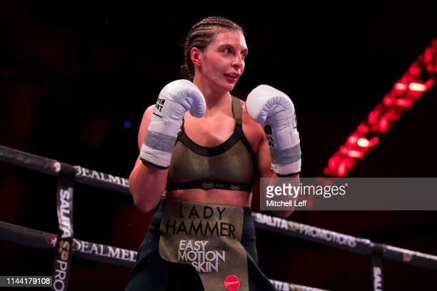 Christina Hammer looks on against Claressa Shields at Atlantic City Boardwalk Hall on April 13 2019 in Atlantic City New Jersey