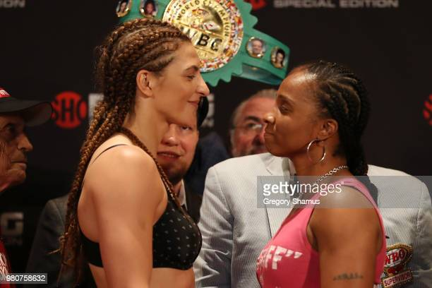 Christina Hammer of Germany and Tori Nelson face off after their weighin prior to their WBC and WBO Middleweight World Championship at the Masonic...