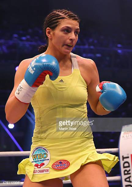 Christina Hammer of Germany in action during the WBO WBF World Championship Middleweight title fight at Getec Arena on March 1 2014 in Magdeburg...