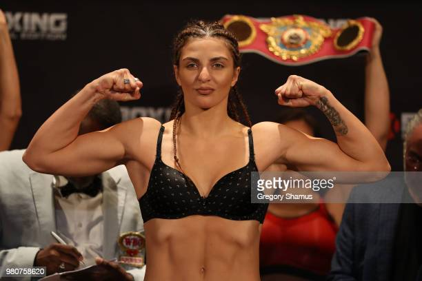Christina Hammer of Germany makes weight during her official weighin at the Masonic Temple Theater on June 21 2018 in Detroit Michigan Hammer will...