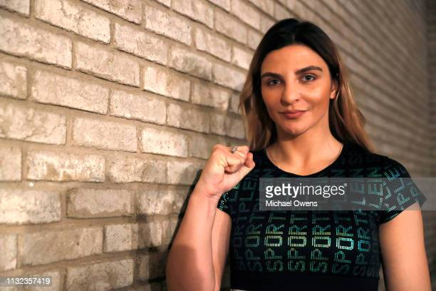 Christina Hammer poses for a portrait just after the press conference between Claressa Shields and Christina Hammer at the Dream Hotel Downtown on...