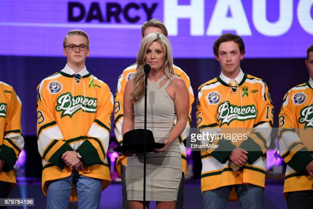 Christina Haugan accepts the Willie O'Ree Community Hero Award given to an individual who through the game of hockey has positively impacted his or...