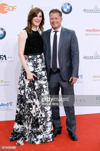 Christina Hecke and Til Schweiger attend the Lola German Film Award red carpet at Messe Berlin on April 28 2017 in Berlin Germany