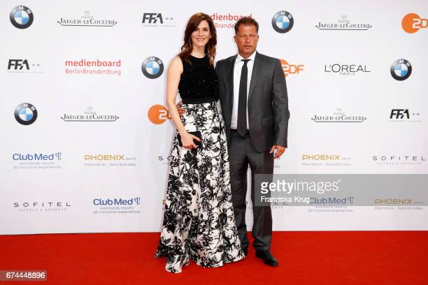 Christina Hecke and Til Schweiger during the Lola German Film Award red carpet arrivals at Messe Berlin on April 28 2017 in Berlin Germany