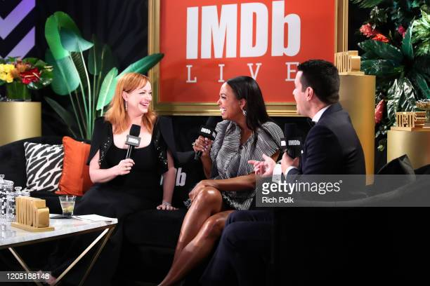 Christina Hendricks Aisha Tyler and Dave Karger speak onstage at IMDb LIVE Presented By MM'S At The Elton John AIDS Foundation Academy Awards Viewing...