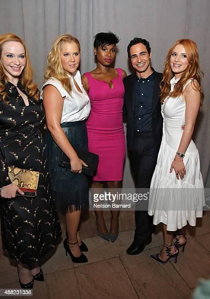 Christina Hendricks, Amy Schumer, Jennifer Hudson, designer Zac Posen, and Bella Thorne pose backstage at the Zac Posen Spring 2016 fashion show...