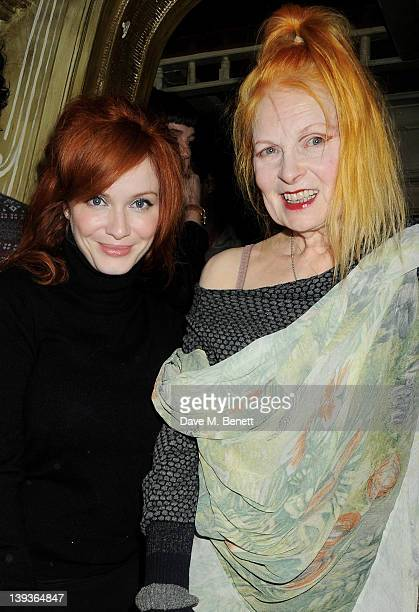 Christina Hendricks and Dame Vivienne Westwood attend the Vivienne Westwood after party with Belvedere during London Fashion Week Autumn/Winter 2012...