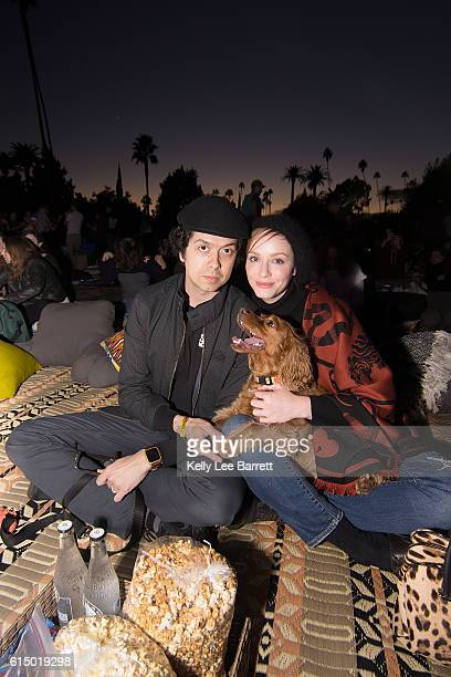 Christina Hendricks and Geoffrey Arend attend Cinespia's screening of 'Death Becomes Her' held at Hollywood Forever on October 15 2016 in Hollywood...