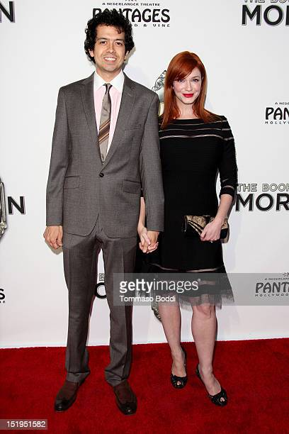 Christina Hendricks and Geoffrey Arend attend 'The Book Of Mormon' Los Angeles Opening Night held at the Pantages Theatre on September 12 2012 in...