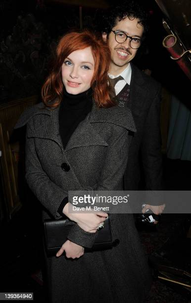 Christina Hendricks and Geoffrey Arend attend the Vivienne Westwood after party with Belvedere during London Fashion Week Autumn/Winter 2012 at The...
