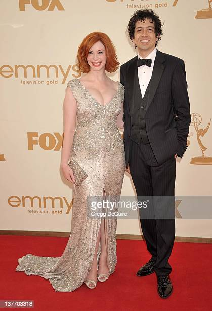 Christina Hendricks and husband Geoffrey Arend arrive at the Academy of Television Arts Sciences 63rd Primetime Emmy Awards at Nokia Theatre LA Live...