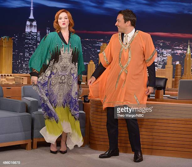 Christina Hendricks and Jimmy Fallon during a taping of The Tonight Show Starring Jimmy Fallon at Rockefeller Center on April 21 2014 in New York City