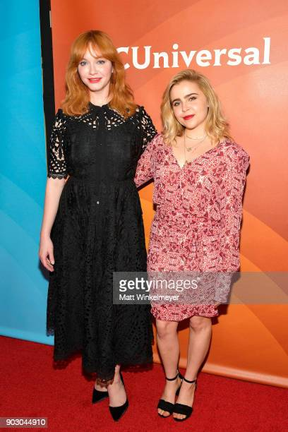 Christina Hendricks and Mae Whitman attend the 2018 NBCUniversal Winter Press Tour at The Langham Huntington Pasadena on January 9 2018 in Pasadena...
