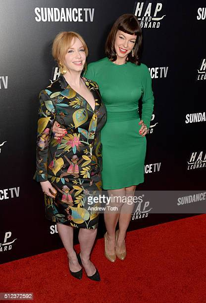 Christina Hendricks and Pollyanna McIntosh attend Hap and Leonard private premiere party at Hill Country BBQ on February 25 2016 in New York City