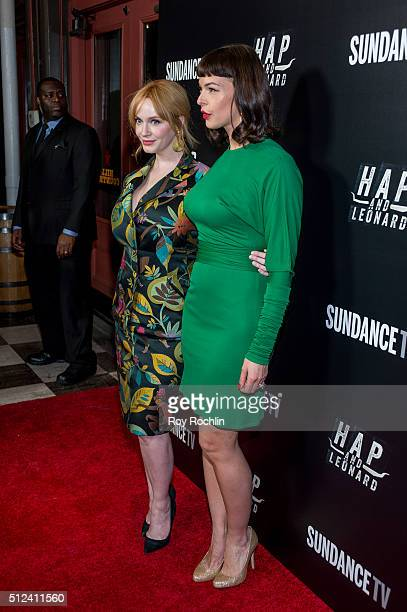 Christina Hendricks and Pollyanna McIntosh attend 'Hap and Leonard' Private Premiere Party at Hill Country BBQ on February 25 2016 in New York City