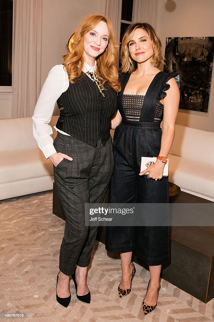 Christina Hendricks and Sophia Bush attend Restoration Hardware Celebrates The Opening Of RH Chicago - The Gallery At The Three Arts Club at Restoration Hardware on September 30, 2015 in Chicago, Illinois.