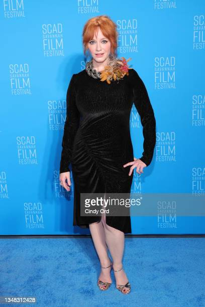 """Christina Hendricks attends the opening night red carpet and screening of """"Belfast"""" during the 24th SCAD Savannah Film Festival on October 23, 2021..."""