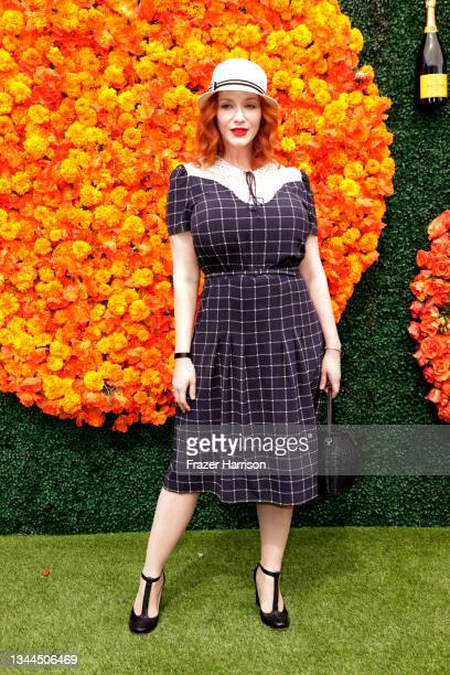 Christina Hendricks attends the Veuve Clicquot Polo Classic at Will Rogers State Historic Park on October 02, 2021 in Pacific Palisades, California.
