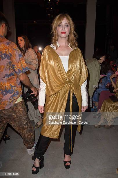 Christina Hendricks attends the Vivienne Westwood show as part of the Paris Fashion Week Womenswear Spring/Summer 2017 on October 1 2016 in Paris...