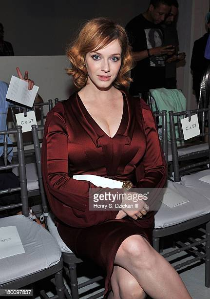 Christina Hendricks attends the Zac Posen show during Spring 2014 Mercedes-Benz Fashion Week at Center 548 on September 8, 2013 in New York City.